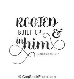 biblia, construido, arriba, tipografía, verso, animar, ...