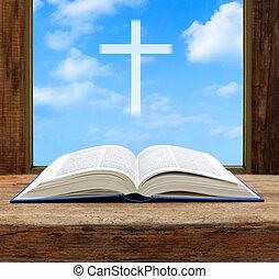 biblia, cristiano, de madera, luz, superficial, cielo, cruz, ventana, dof, abierto, vista