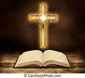 biblia, crucifijo, brillar