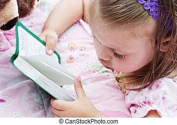 biblia, czytanie, dziecko