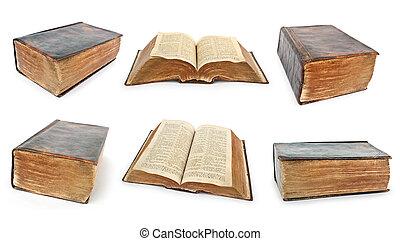biblia, -, gyűjtés, közül, nagyon, öreg, nyitott könyv