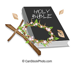 biblia, jámbor, fából való, tövis, fejtető, kereszt