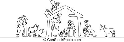 biblia, jámbor, family., színhely, ábra, vektor