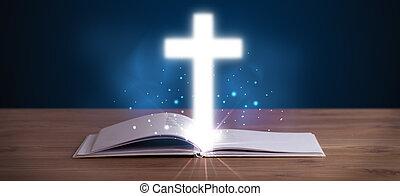 biblia, jámbor, kereszt, középső, izzó, nyílik