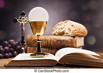 biblia, kifogásol, bor., szent, bread