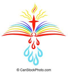 biblia, krzyż, to, płomień, gojenie, nad, pod, krople, otwarty, lustrzany