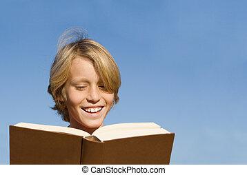 biblia, książka, koźlę, dziecko, czytanie, albo, szczęśliwy