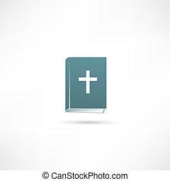 biblia, libro, icono