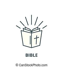 biblia, lineáris, fogalom, jelkép, aláír, vektor, ikon, egyenes, áttekintés
