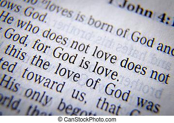 biblia, miłość, bóg, tekst, -, 1, 4:8, angol