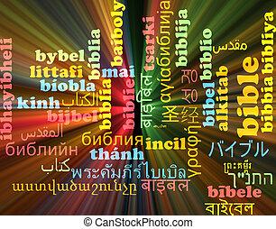 biblia, multilanguage, wordcloud, háttér, fogalom, izzó