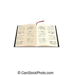 biblia, nyílik, elszigetelt, ikon