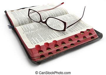 biblia, okulary, otwarty