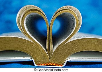 biblia, página, rizado