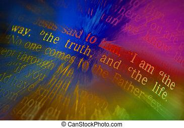 biblia, tekst, -, ja, jestem, przedimek określony przed rzeczownikami, droga, przedimek określony przed rzeczownikami, prawda, i, przedimek określony przed rzeczownikami, życie