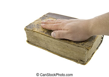 biblia, vendimia, encima, aislado, mano, blanco masculino