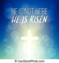 biblia, verse:, él, es, no, aquí, él, es, levantado, titular, con, brillar, cruz, en, bokeh, plano de fondo, tipográfico, diseño, para, pascua, y, celebrar, el, resurrección, de, jesucristo