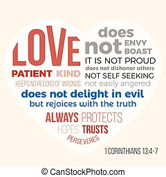 biblia, verso, para, evangelista, 1, corinthians, 13, 4-7,...