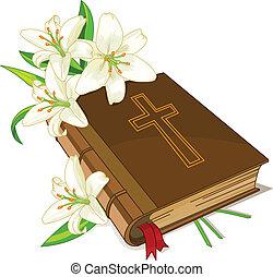 biblia, y, lirio, flores
