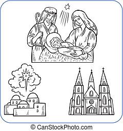 bibliai, színhely, -, vektor, illustration.