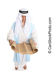 Biblical man or scribe reading holy torah scroll - Biblical...