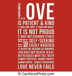 Biblical phrase from 1 corinthians 13:8, love never fails, ...