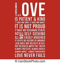 Biblical phrase from 1 corinthians 13:8, love never fails, ...