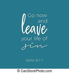 Biblical phrase from john gospel, leave your life of sin