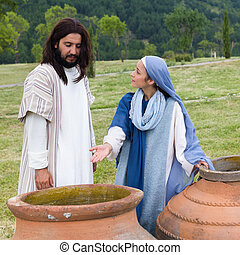 Mother Mary saying to Jesus there is no wine left