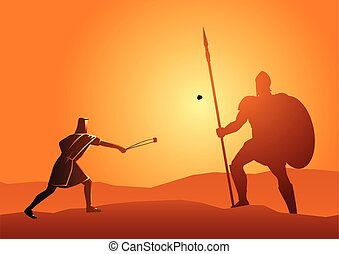 David and Goliath - Biblical vector illustration of David ...