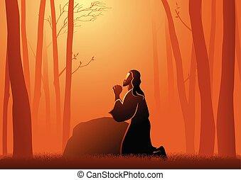Biblical vector illustration of Jesus Praying in Gethsemane