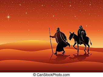Mary and Joseph, journey to Bethlehem