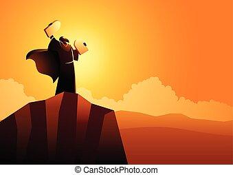 Moses and Ten Commandments - Biblical vector illustration ...