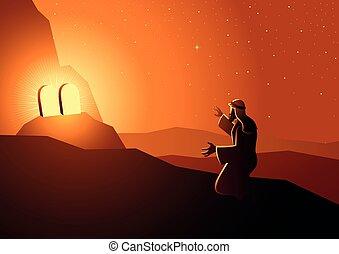 Moses received the Ten Commandments - Biblical vector ...