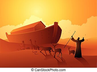 Noah and the ark before great flood - Biblical vector ...