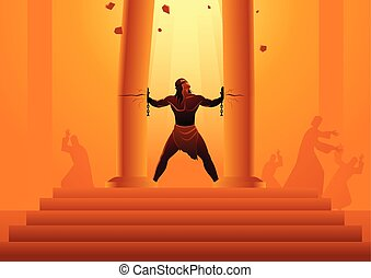 Samson held the pillars of the temple and pushing them apart...