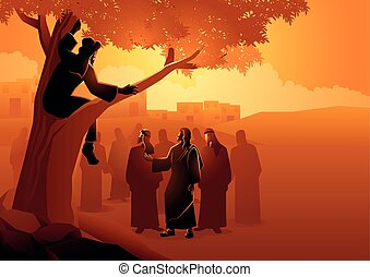 Biblical vector illustration series, Zacchaeus climbed up into a sycamore tree to have a better view of Jesus.