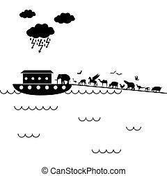 biblican Noah Ark with a lot of animals walking inside