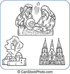 biblijny, scena, -, wektor, illustration.