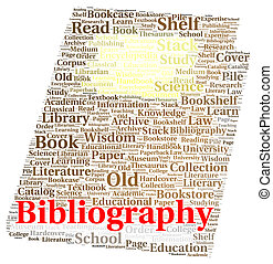 Bibliography word cloud shape concept