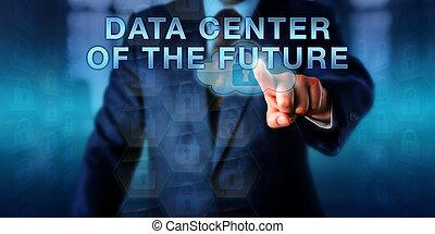 bibliotecário, tocar, dados centram, de, futuro