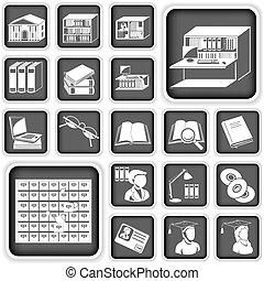 biblioteca, botones, conjunto