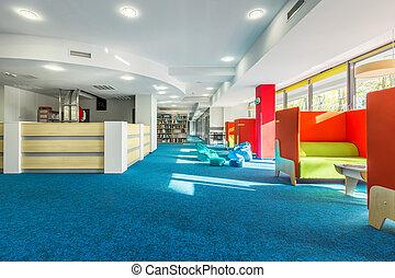 biblioteca, con, individuale, studio, spazio