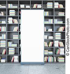 biblioteca, con, manifesto, fronte