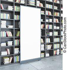 biblioteca, con, manifesto, lato