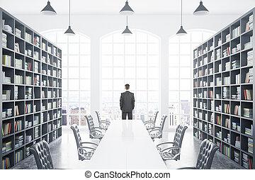 biblioteca, con, tavola, e, persona