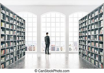 biblioteca, con, uomo affari