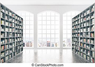 biblioteca, con, veduta città