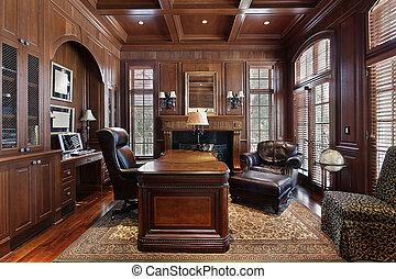 biblioteca, en, casa luxury