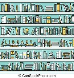 biblioteca, escena, ilustración